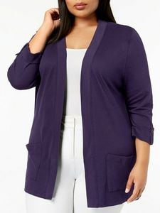 KAREN SCOTT PLUS SIZE 1X PURPLE CARDIGAN SWEATER